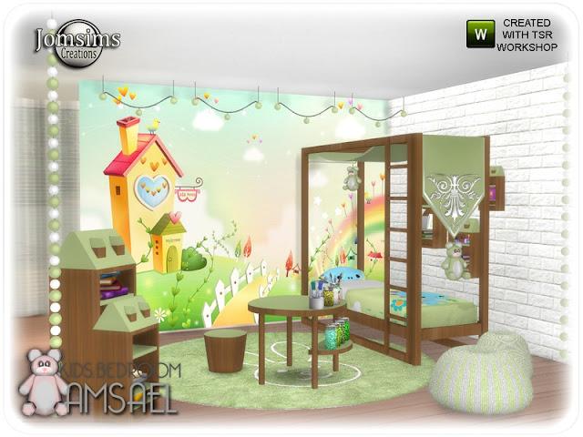 Amsael kids bedroom Амсаэль детская спальня для The Sims 4 4 оттенка, дерево и цвет. детская кровать. часть 2 misc deco для кровати. круглый коврик кролик. обои для детей. таблица активности. конец стола дома. Конец столика дома более маленький. wall deco mix небольшой дом. потолочный светильник шар. потолочный светильник шар 2 гирлянда. настенные рисунки. 2 затяжки Стены. Автор: jomsims