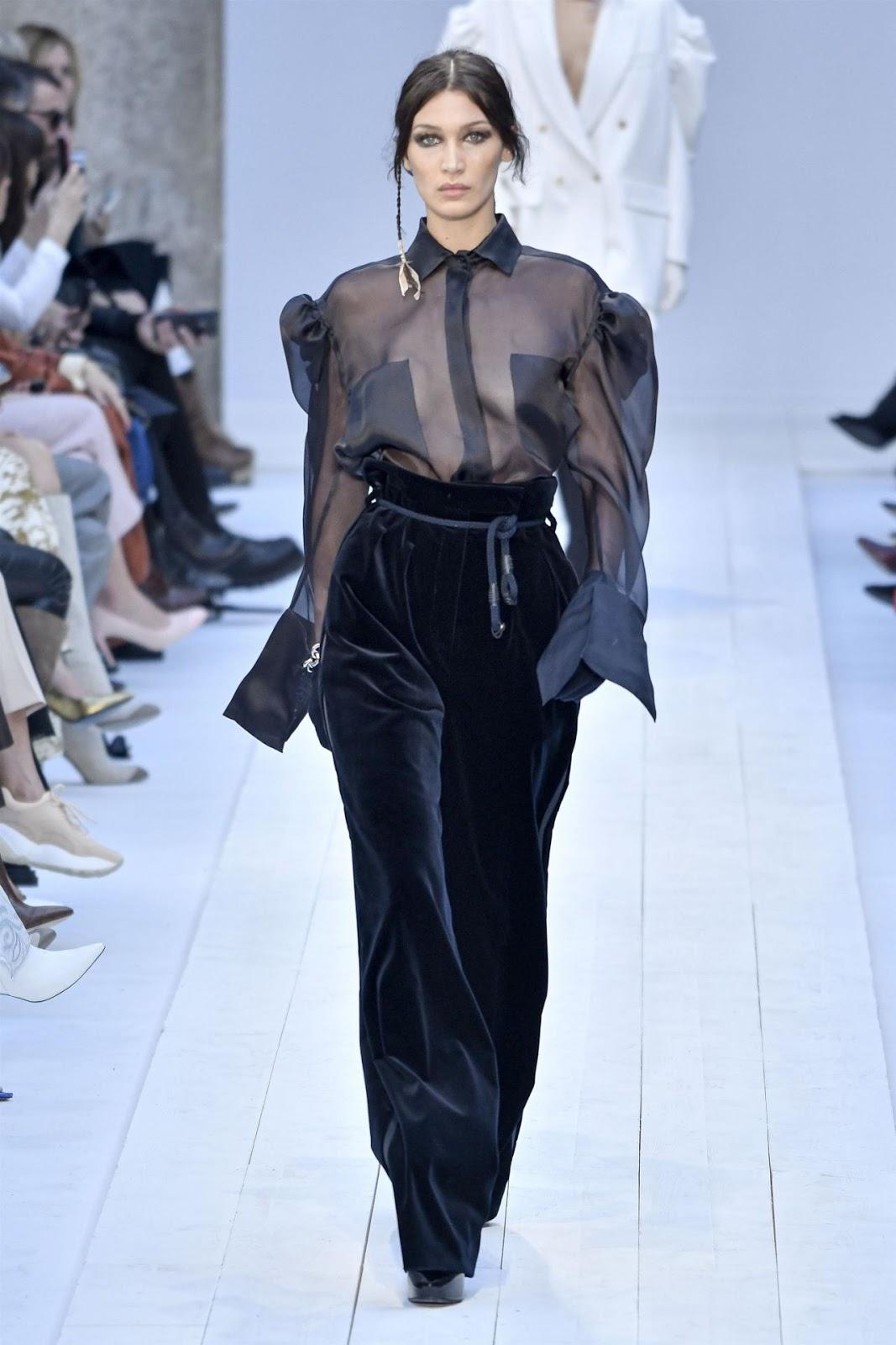 Bella Hadid walks the runway during the Max Mara fashion show