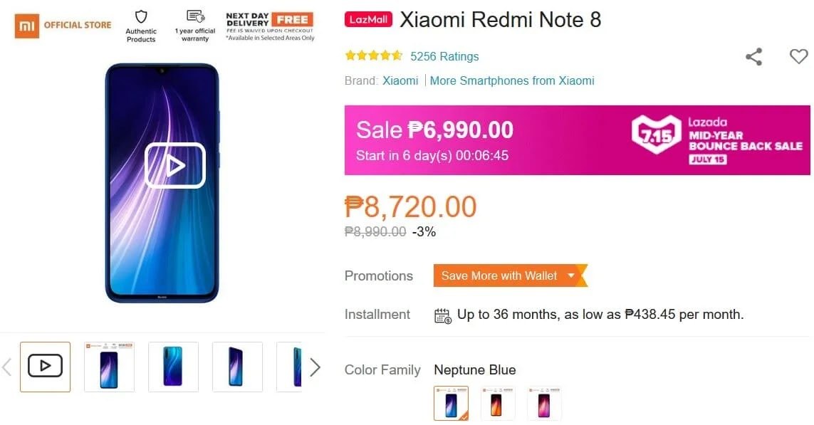 Xiaomi Redmi Note 8 4GB+64GB On Sale this July 15 for Only Php6,990