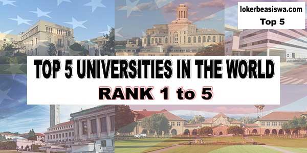 5 Universitas Terbaik di dunia tahun 2018