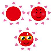 いろいろな太陽のイラスト(赤)