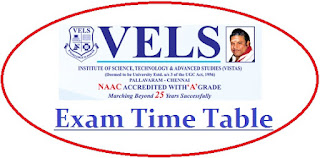 Vels University Exam Date Sheet 2020