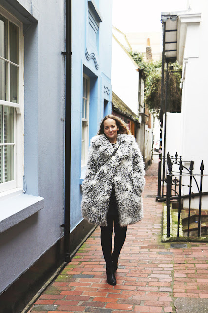 Topshop Faux Fur Coat by Carrie Fry