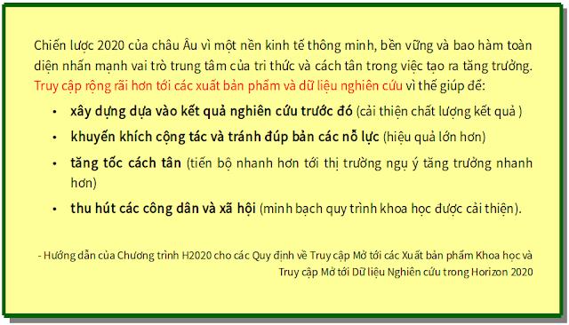 Hướng dẫn của Chương trình H2020 cho các Quy định về Truy cập Mở tới các Xuất bản phẩm Khoa học và Truy cập Mở tới Dữ liệu Nghiên cứu trong Horizon 2020 - bản dịch sang tiếng Việt