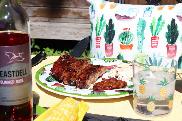 Home Sense, patio season, pineapples, succulents, wine, rose, ribs, dinner, bbq, patio