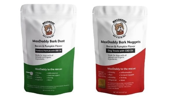 Max Daddy CBD supplements for dogs and bacon flavored dog treats