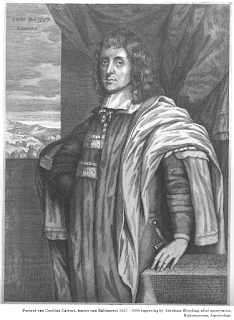 Portrait of Cecilius Calvert, baron van Baltimore; 1657 - 1690 engraving by Abraham Bloteling; after anonymous. Rijksmuseum, Amsterdam.