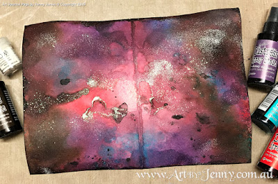 a galaxy background made using Tim Holtz Distress Spray Stains by Jenny James