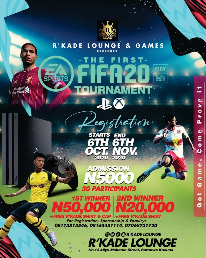 """R'Kade Lounge and Games presents """"The First FIFA 20 Tournament in Kaduna"""""""