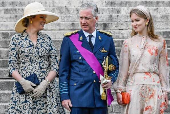 Crown Princess Elisabeth, Prince Gabriel, Prince Emmanuel and Princess Eleonore. Queen Mathilde outfit is by Belgian fashion house Natan