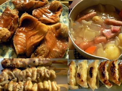 夕食の献立 献立レシピ 飽きない献立 煮魚 焼き鳥4本 じゃが芋ベーコン 餃子