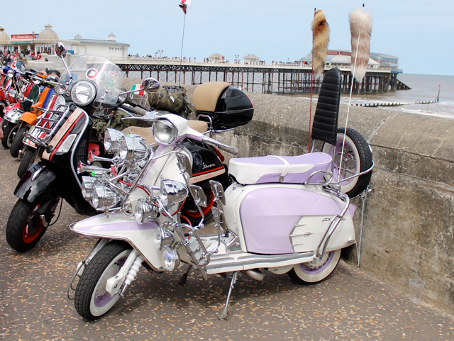 Cromer 60s festival - scooters near the pier