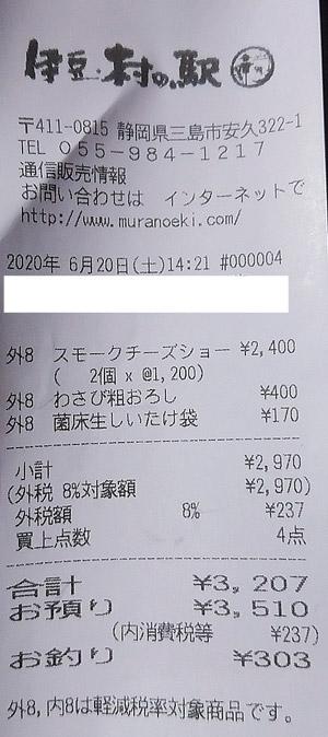 伊豆・村の駅 2020/6/20 のレシート