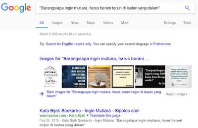 fungsi tanda kutip hasil pencarian google