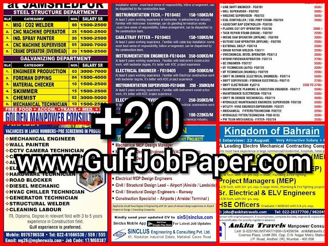 Gulf Overseas Jobs {Post Date~18 August}