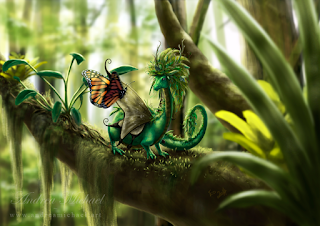 Fanciful green dragon-like forest creature sitting on a mossy branch, with an orange butterfly.]