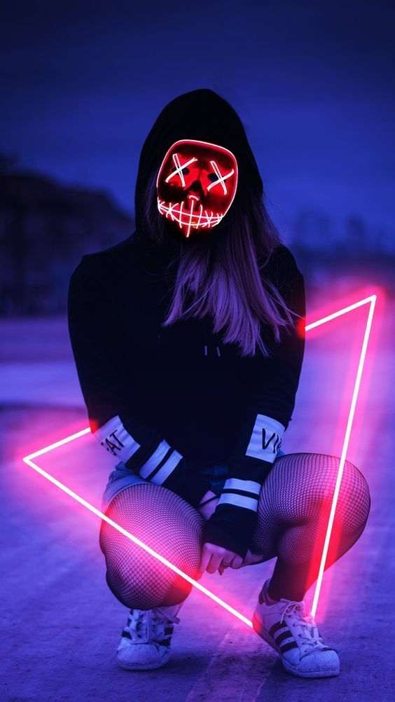 Led Mask Girl Mobile Wallpaper