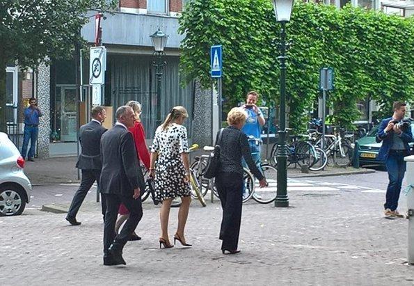 Queen Maxima wore Carolina Herrera Leaf Print Tweed Half Sleeve Dress. Dutch Queen Máxima visited iZi-Experience home The Hague