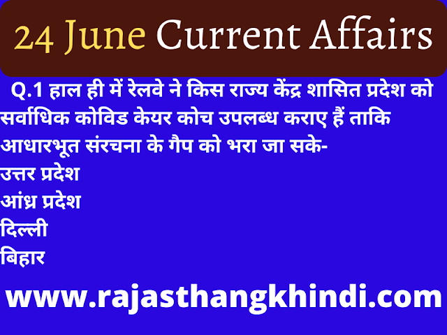Today Current Affairs In hindi -24 June 2020