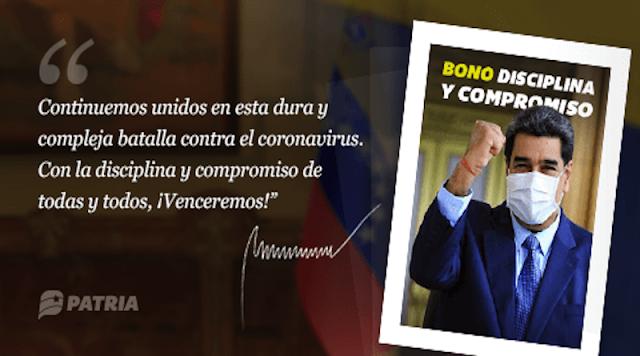Este lunes inició la entrega del Bono Disciplina y Compromiso a través de la Plataforma Patria