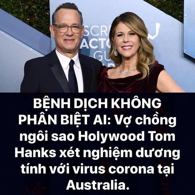 Vợ chồng ngôi sao Holywood Tom Hanks và Rita Wilson dương tính với virus corona