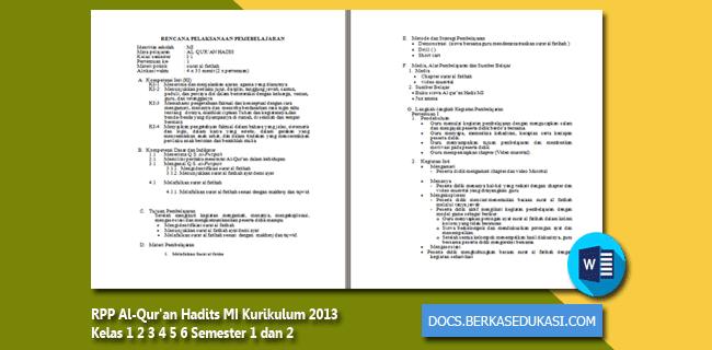 RPP Al-Qur'an Hadits MI Kurikulum 2013 Kelas 1 2 3 4 5 6 Semester 1 dan 2