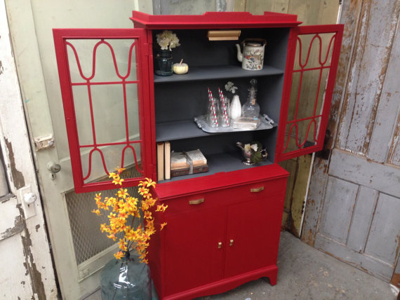 red small china cabinet furniture
