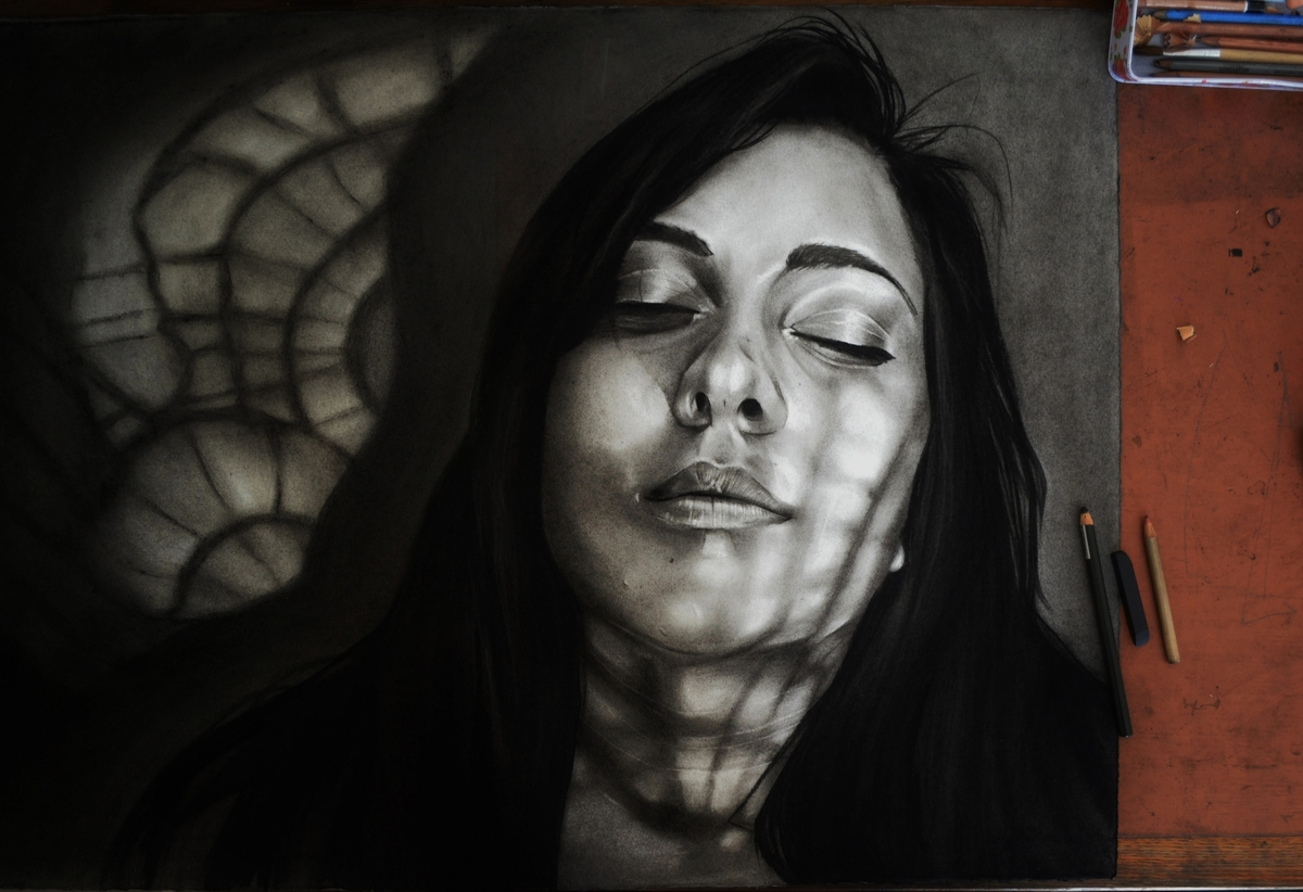 03-Dylan-Andrew-Shadows-and-Textures-Interacting-with-Charcoal-Drawings-www-designstack-co