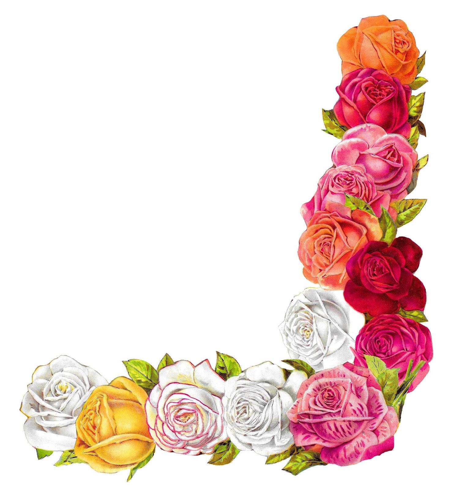 Flowers Rose Shabby Chic Border Corner Scrapbooking Image Clipart