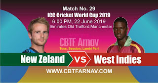 29th Match West Indies vs New Zeland World Cup 2019 Today Match Prediction