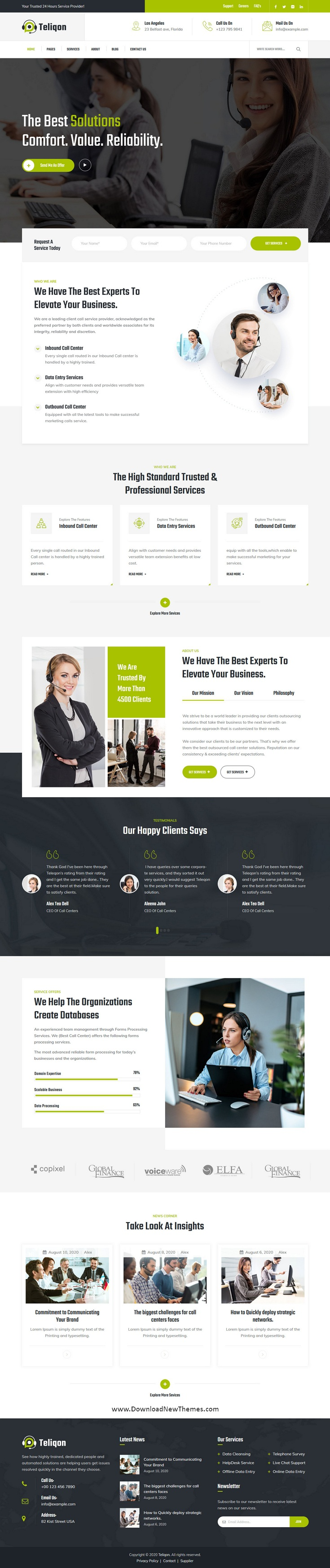 Call Center & Telemarketing Premium WordPress Template
