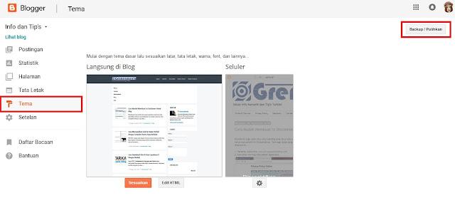 Pertama, buka blog Sobat. Kemudian klik Opsi Tema terus klik Backup/Pulihkan.