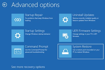 Click on System Restore option