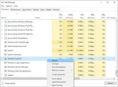 task manager dan cari windows explorer
