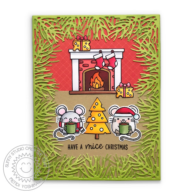 Sunny Studio: Merry Mice Christmas Mouse with Cheese Tree & Fireplace with Stockings Holiday Card (using Christmas Garland Frame die & Santa Claus Lane Stamps)