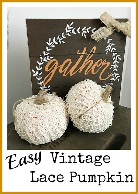 Vintage, Paint and more... cute little vintage lace pumpkins made from dollar store pumpkins by wrapping them with buttonhole trim and adding a twine stem