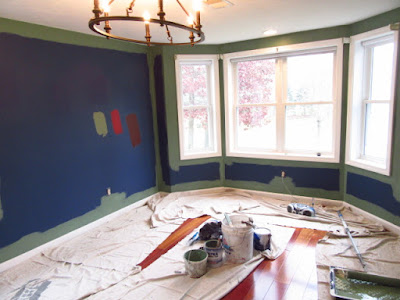 painting the new color in this dining room, Norton, MA.