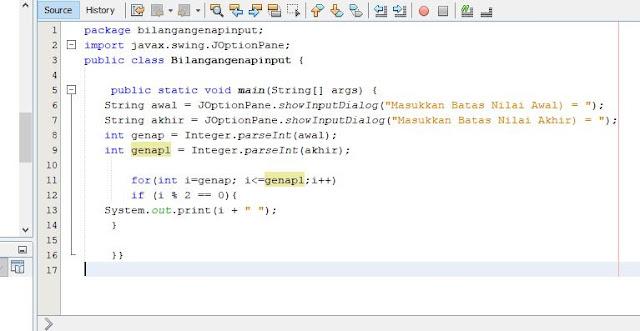 Script java menampilkan bilangan genap di netbeans