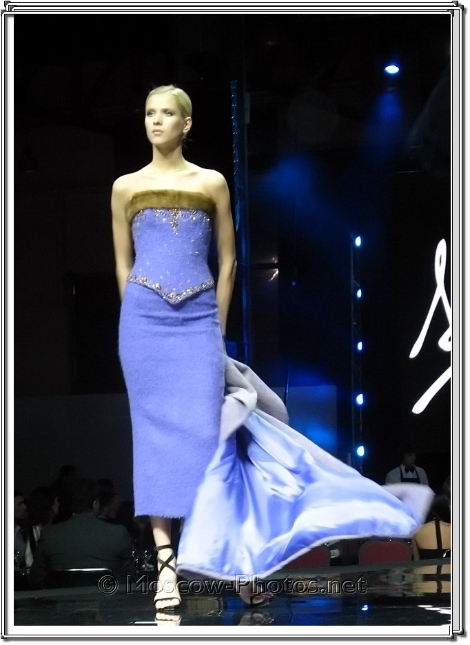 Model in blue dress. Fausto Sarli Collection. Moscow Fashion Expo - 2007.