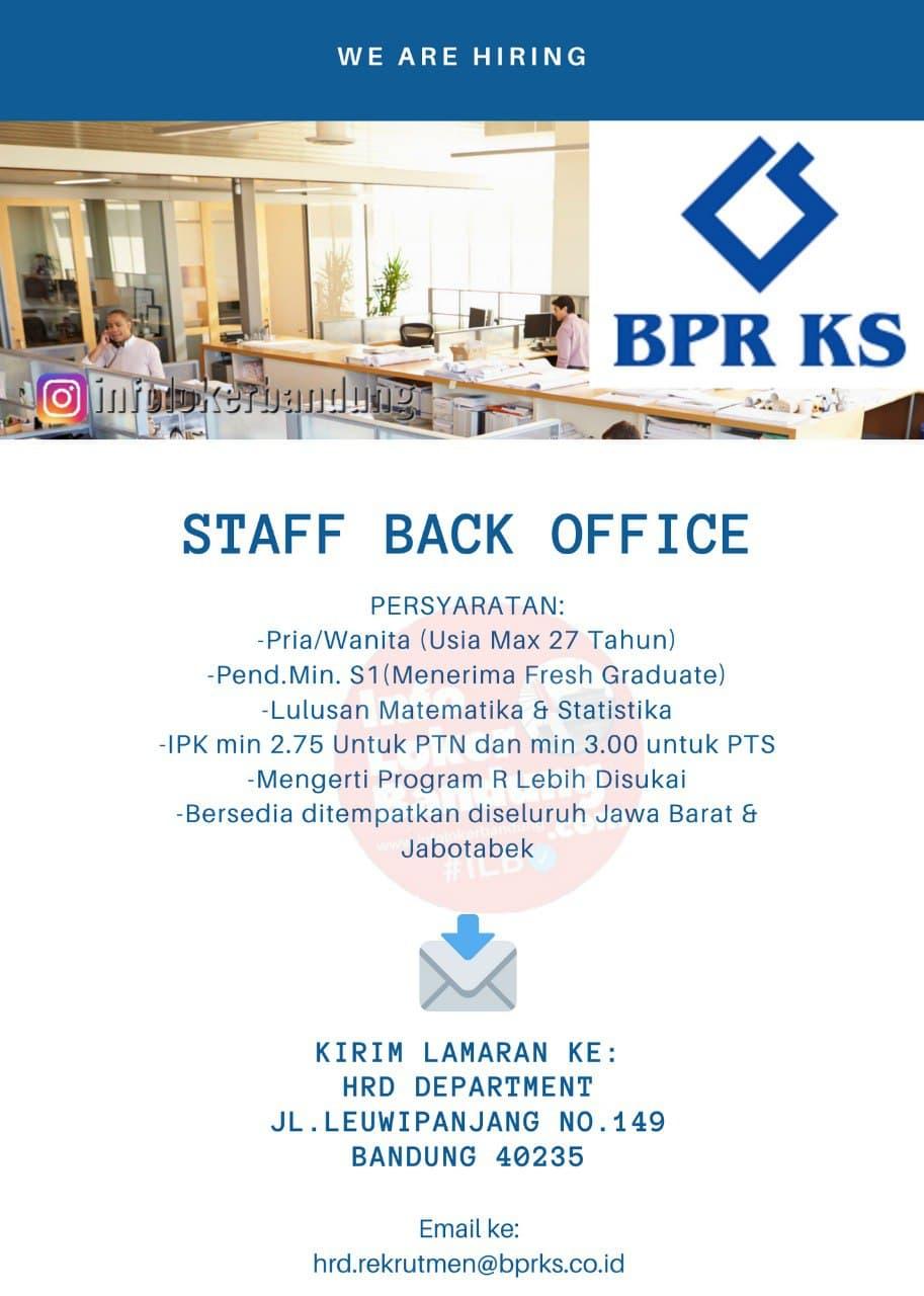 Lowongan Kerja Staff Back Office PT. BPRKS Bandung Januari 2021