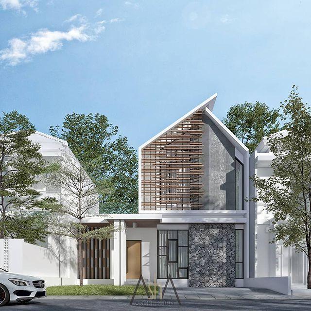 desain rumah minimalis cat biru