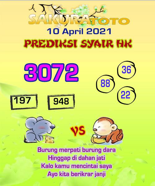 Syair HK Sabtu 10 April 2021 -