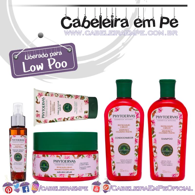 Shampoo, Condicionador, Máscara, Creme para Pentear e Protetor Térmico Revitalização e Brilho Andiroba e Colágeno Vegetal - Phytoervas (Low Poo