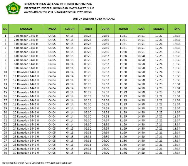 jadwal imsak waktu buka puasa Kota Malang 2020 m ramadhan 1441 h tomatalikuang.com