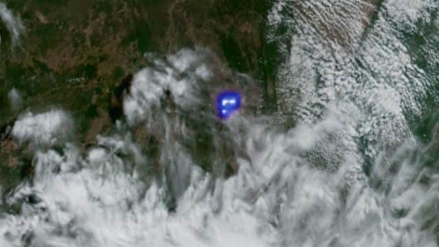 Meteoro na Bahia visto do espaço pelo satélite GOES-16