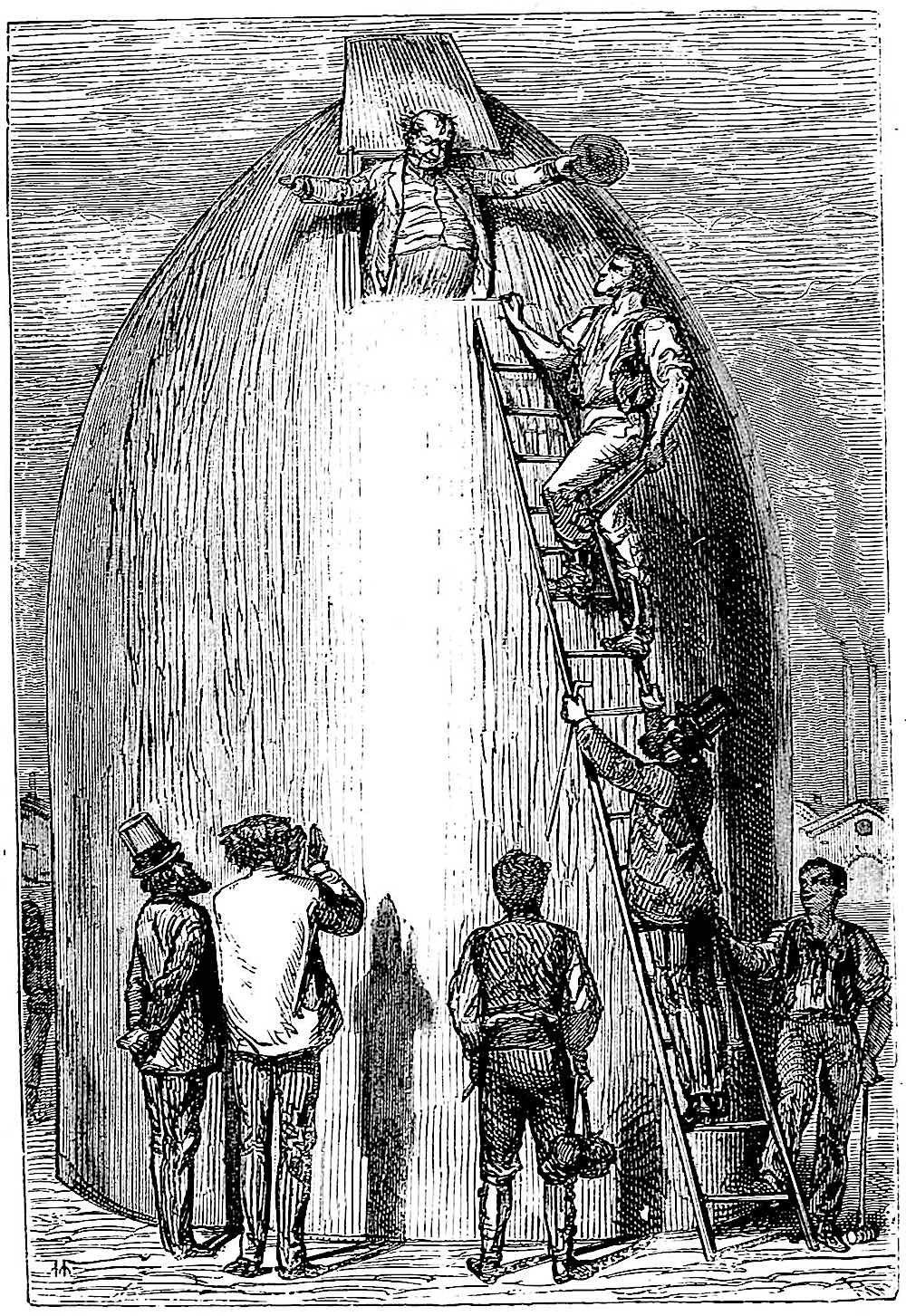 an 1872 illustration from a Jules Verne book, rocket to the moon, retrofuture