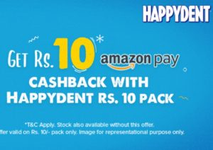 Free ₹10 Amazon Gift Card With Each Happydent ₹10 Pack
