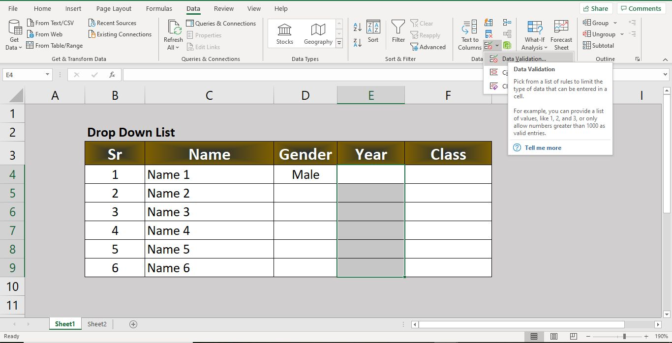 Advance Excel Function Data Validation- How to create a drop down list in Excel ?