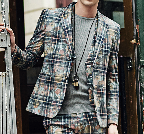 Blended Plaid Blazer For Men
