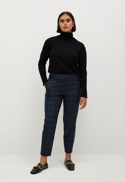 Pantaloni crop slim fit in carouri bleumarin